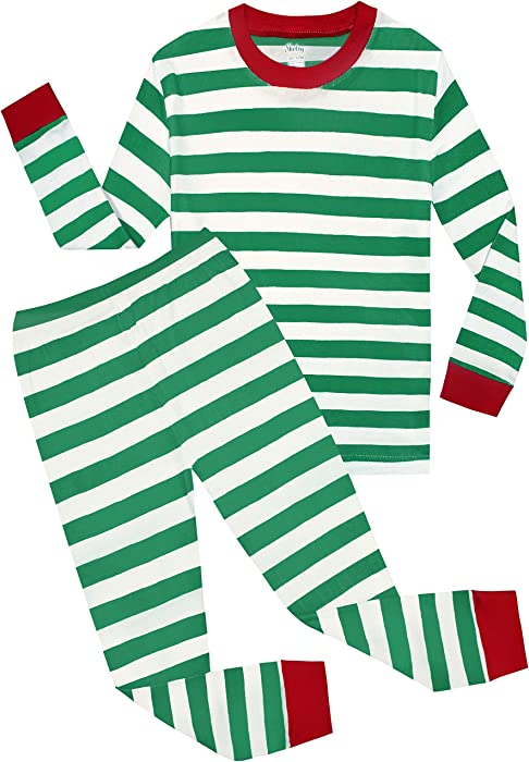 947f90a9 shelry Boys Girls Christmas Striped 2 Piece Kids Pajamas Set 100% Cotton Toddler  Pjs Green