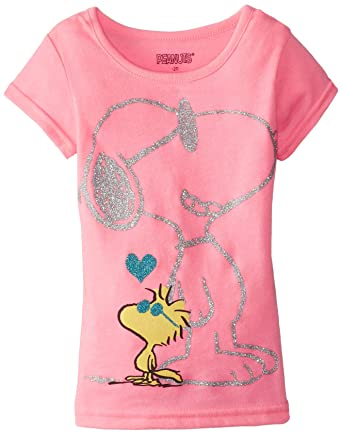 603afc967 Peanuts Little Girls' Snoopy Graphic T-Shirt, Neon Bright Pink, ...