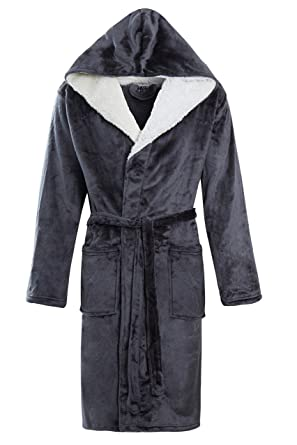 910a71208a8 STONEBRIDGE Mens Luxury Super Soft Men Dressing Gown Hooded Bathrobe  (Charcoal Hooded