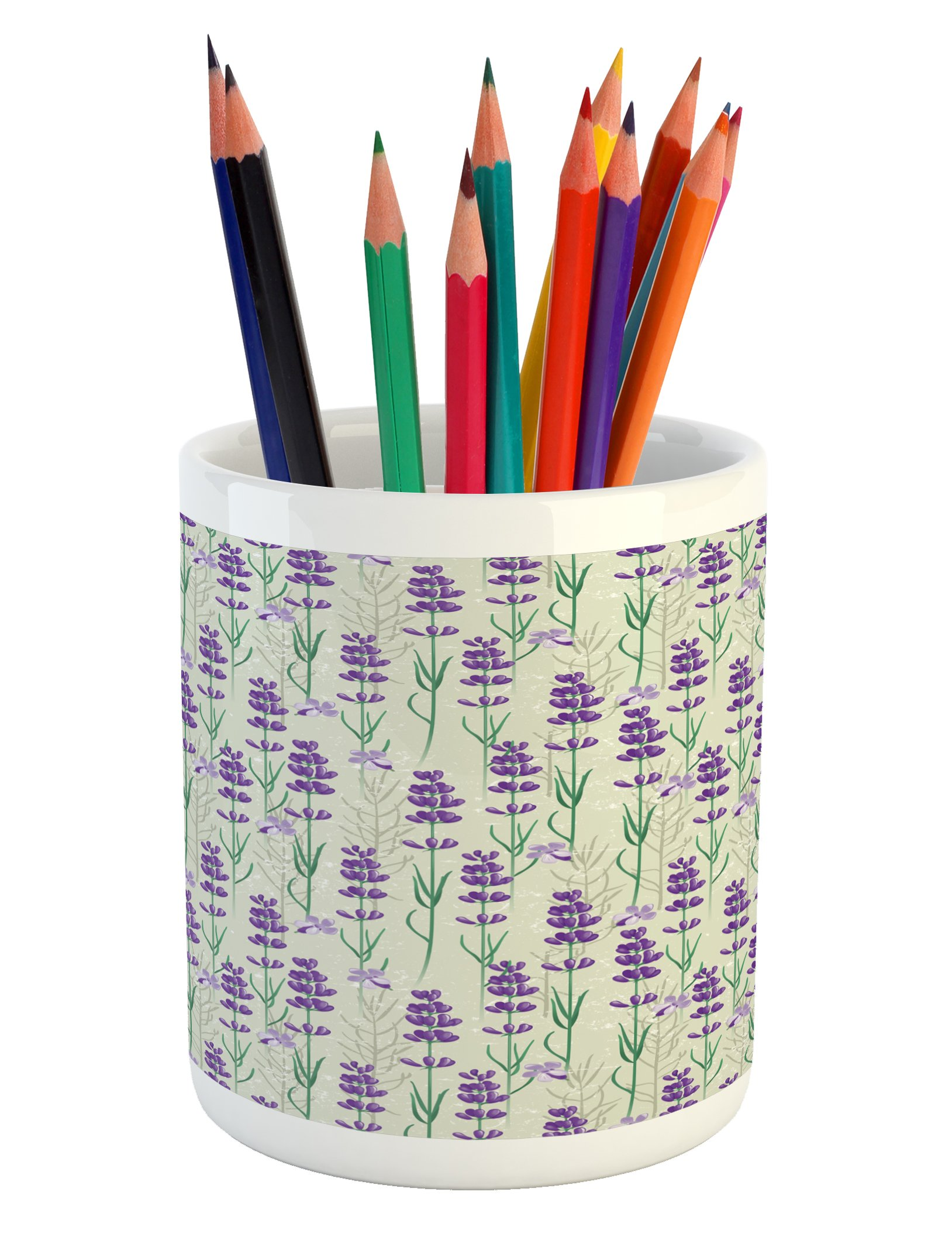 Ambesonne Lavender Pencil Pen Holder, Botanical Pattern with Fresh Herbs Aromatherapy Spa Theme, Printed Ceramic Pencil Pen Holder for Desk Office Accessory, Pale Sage Green Violet and Green