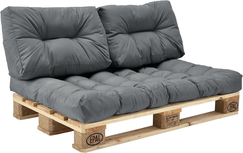 [en.casa] Set de 3 Cojines para sofá-palé - cojín de Asiento + Cojines de Respaldo Acolchados [Gris Claro] para europalé In/Outdoor
