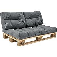 [en.casa] Set de 3 Cojines para sofá-palé - cojín de Asiento + Cojines de Respaldo Acolchados…