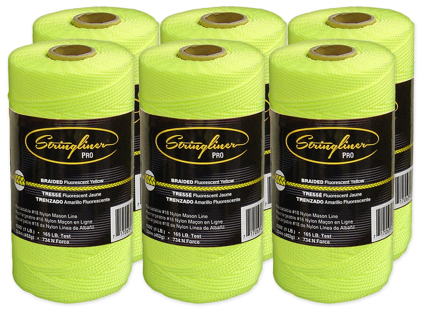 Stringliner Braided Mason Line Replacement Roll Contractor Pack 1,000' - Fluorescent Yellow (6 Pack) - SL35765CPK by Stringliner