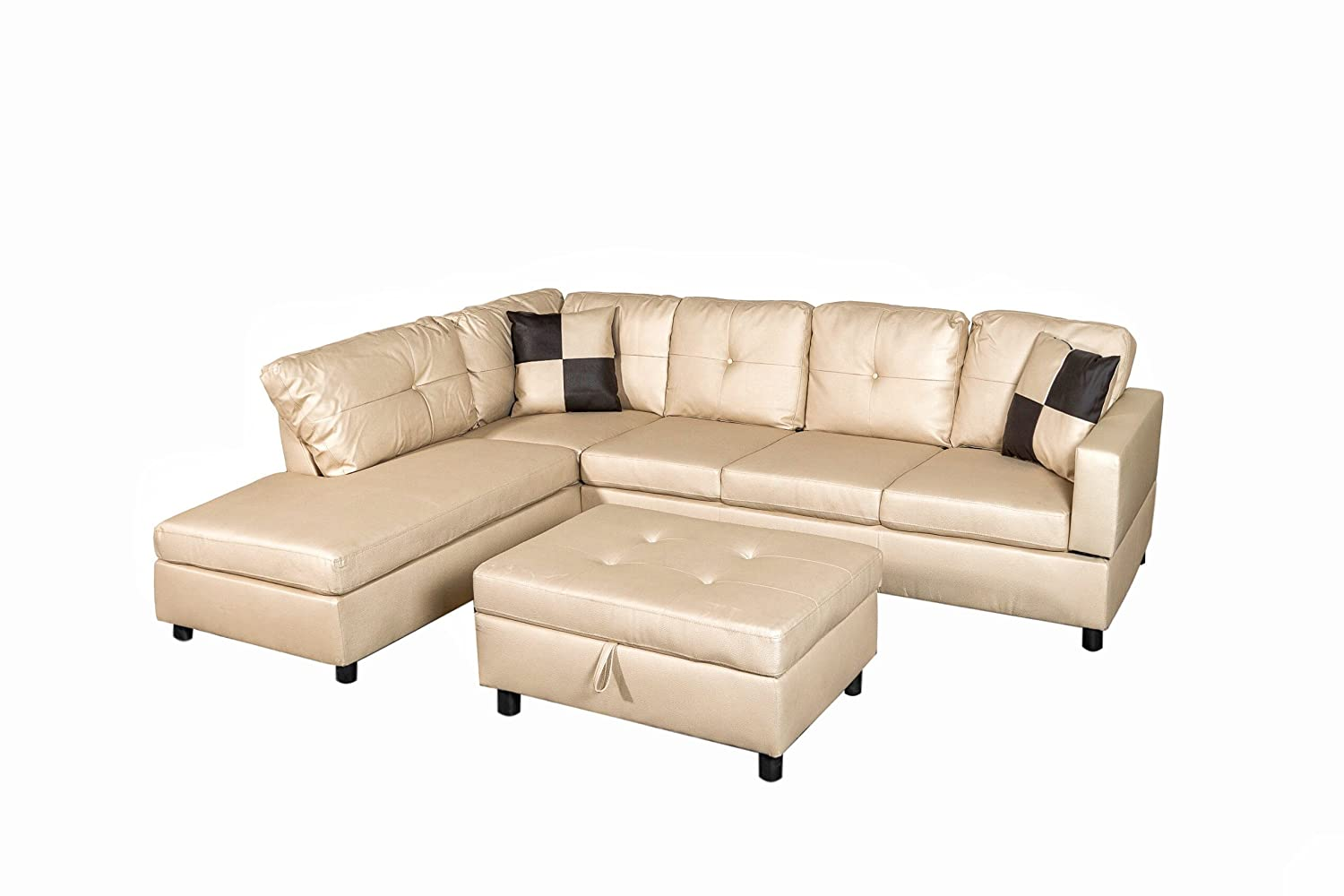 Amazon.com: Legend Faux Leather Right-Facing Sectional Sofa Set With ...