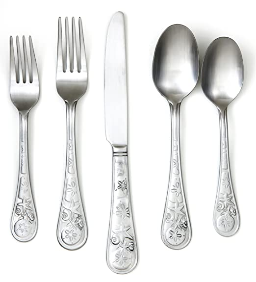 Christmas Tablescape Decor - Cambridge Silversmith Seaside 20-pc. Satin Flatware Set