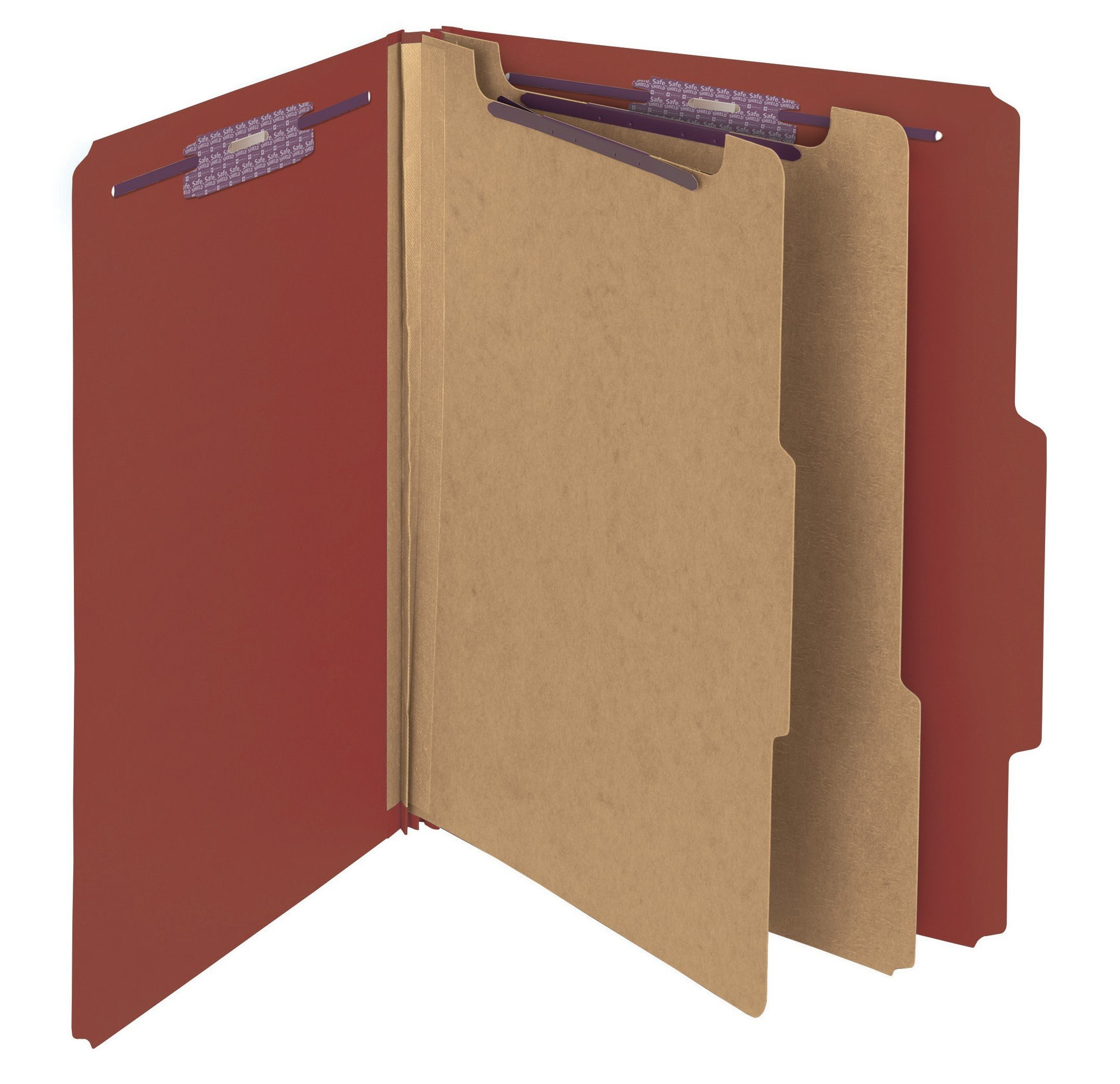 Smead Pressboard Classification File Folder with SafeSHIELD Fasteners, 2 Dividers, 2'' Expansion, Letter Size, Red, 10 per box (14073)