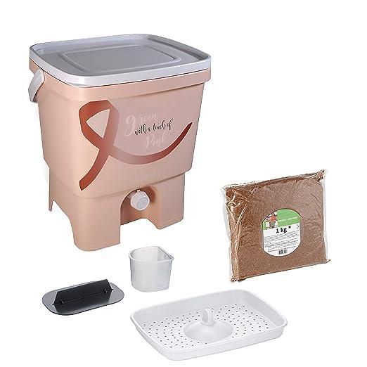 Skaza - mind your eco Bokashi Organico Single con Biogen/Abono y Accesorios - Basura Orgánica Sustentable e Innovadora - Kit de Composto (Rojo/Blanco) ...