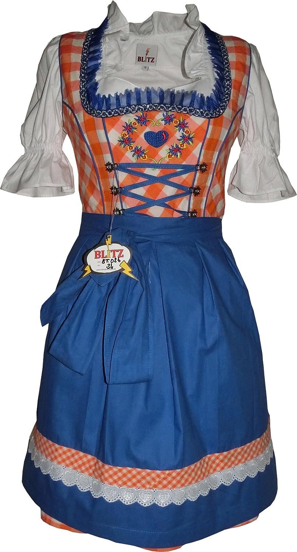 Blitz BT26 Dirndl 3 tlg. Trachtenkleid Kleid, Bluse, Schürze, ca. 90cm Größe: 34 bis 42 , Orange&Weiß&Blau