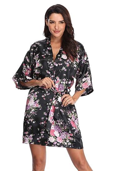 Mignon Cromwell Women s Floral Bride Bridesmaids Robe Satin Wedding Kimono  Bridal Dressing Gown Sleepwear 1fea22f2a