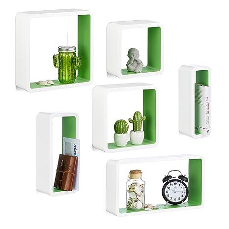 Mensole Moderne Laccate.Relaxdays Set 6 Mensole Da Muro Laccate Cubi Da Parete In