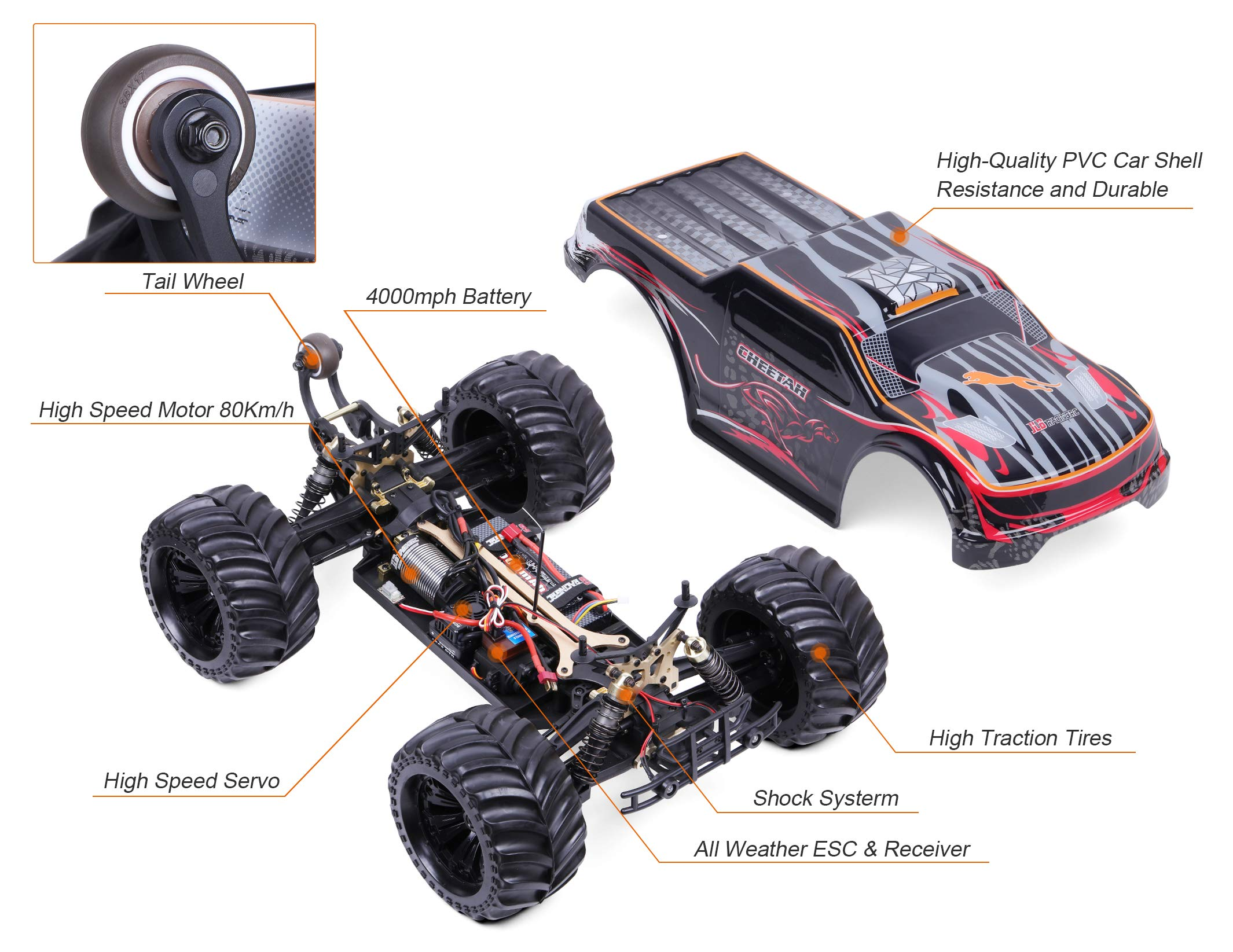 JLBRACINGRC Super Fast 1/10 Scale Cheetah RC Car, 80 KM/H 4WD 2.4GHZ RC Truck with 120A ESC IPX7 Waterproof 3670 2500KV Brushless Motor Wheelie Function 4x4 Off Road RTR RC Monster Truck for Adults by JLBRACINGRC (Image #6)