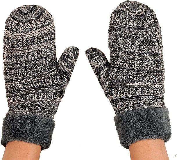 Womens Girls Sherpa Fleece Lined Winter Warm Soft Thermal Knit Mittens Gloves
