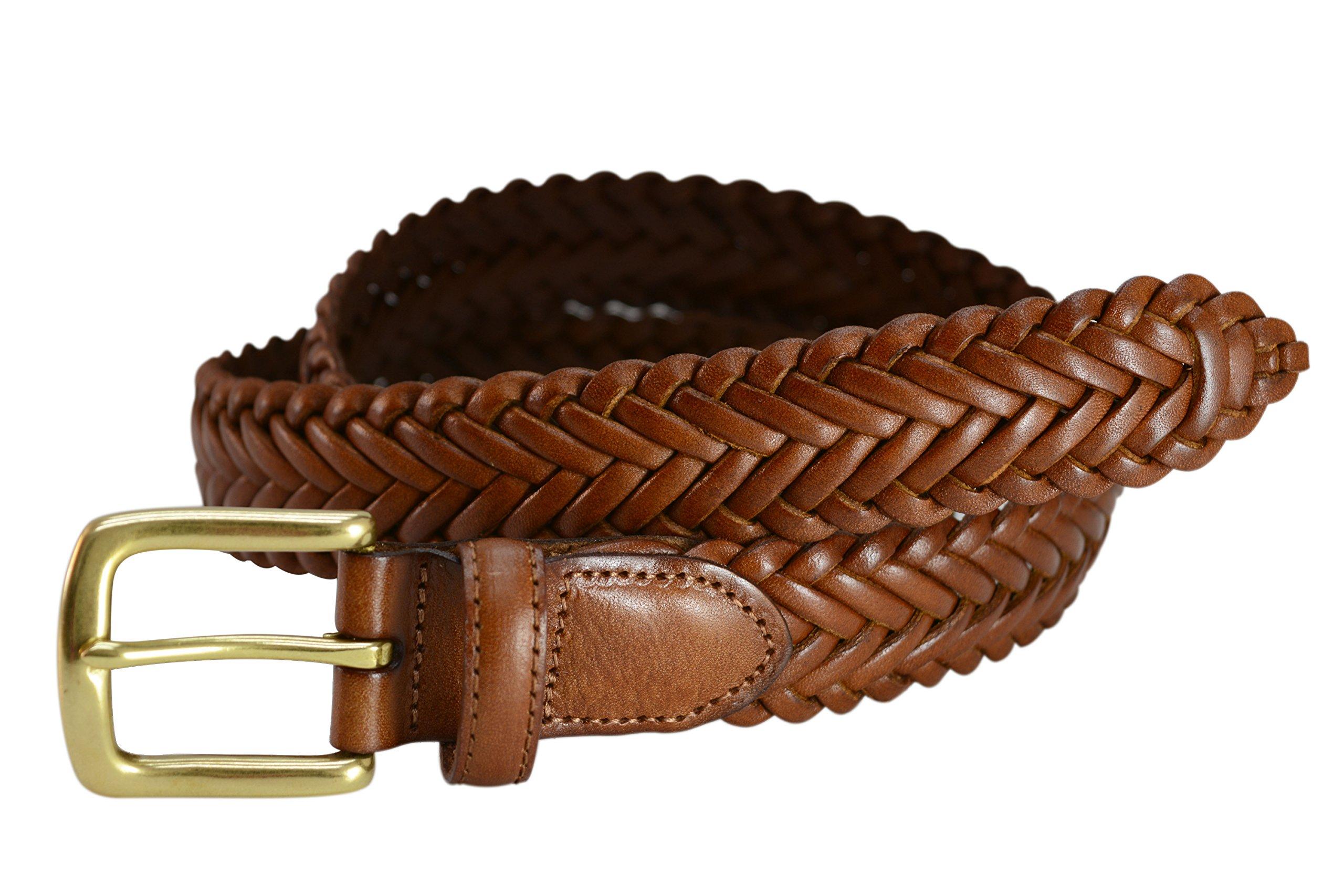 796-TAN - Toneka Men's Woven Tan Caramel Full grain Braided Leather Dress Belt (48)