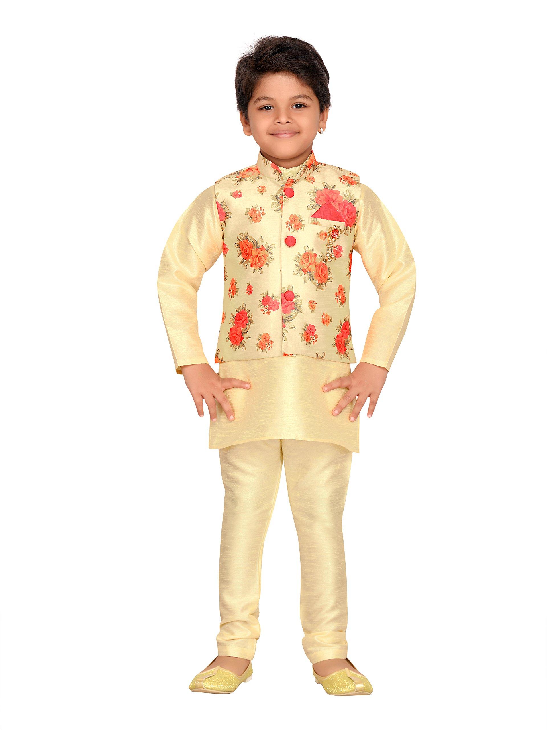 AJ Dezines Kids Indian Wear Bollywood Style Kurta Pyjama Waistcoat for Boys (623-CREAM-3)