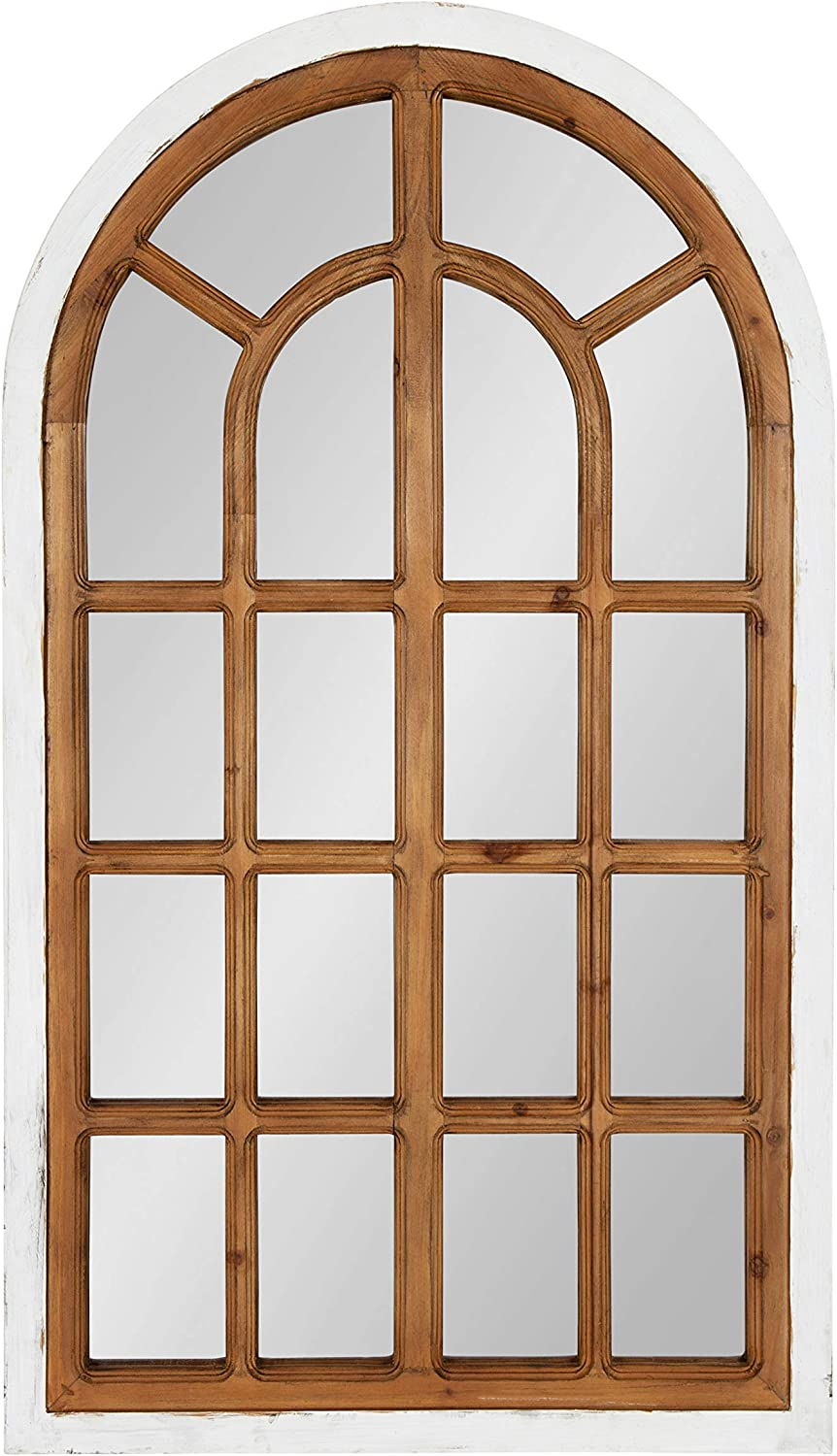 Kate and Laurel Boldmere Traditional Wood Windowpane Arch Wall Mirror, 22