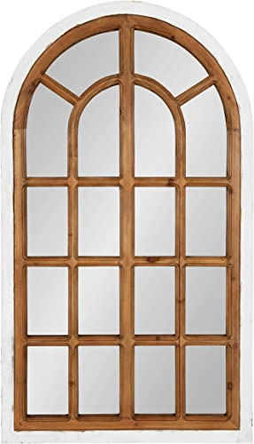 Kate and Laurel Boldmere Traditional Wood Windowpane Arch Wall Mirror, 22 x 38 , White and Brown, Farmhouse Inspired Home Decor