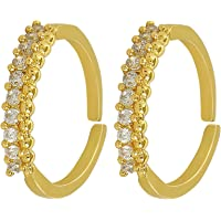 Much More 22k Golden Polished Work Toe Ring for Women (Pink, White & Pink-Green)