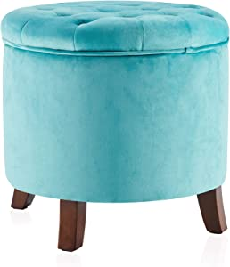 BELLEZE Nailhead Round Tufted Storage Ottoman Large Footrest Stool Coffee Table Lift Top, Teal