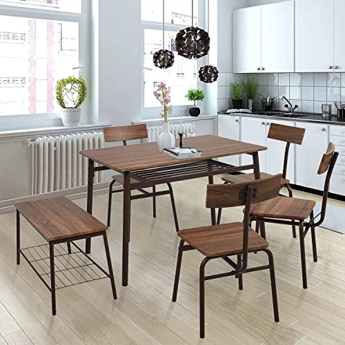 Cheap Dporticus 5-Piece Kitchen Dining Room Table and Chairs Sets dining room set for sale