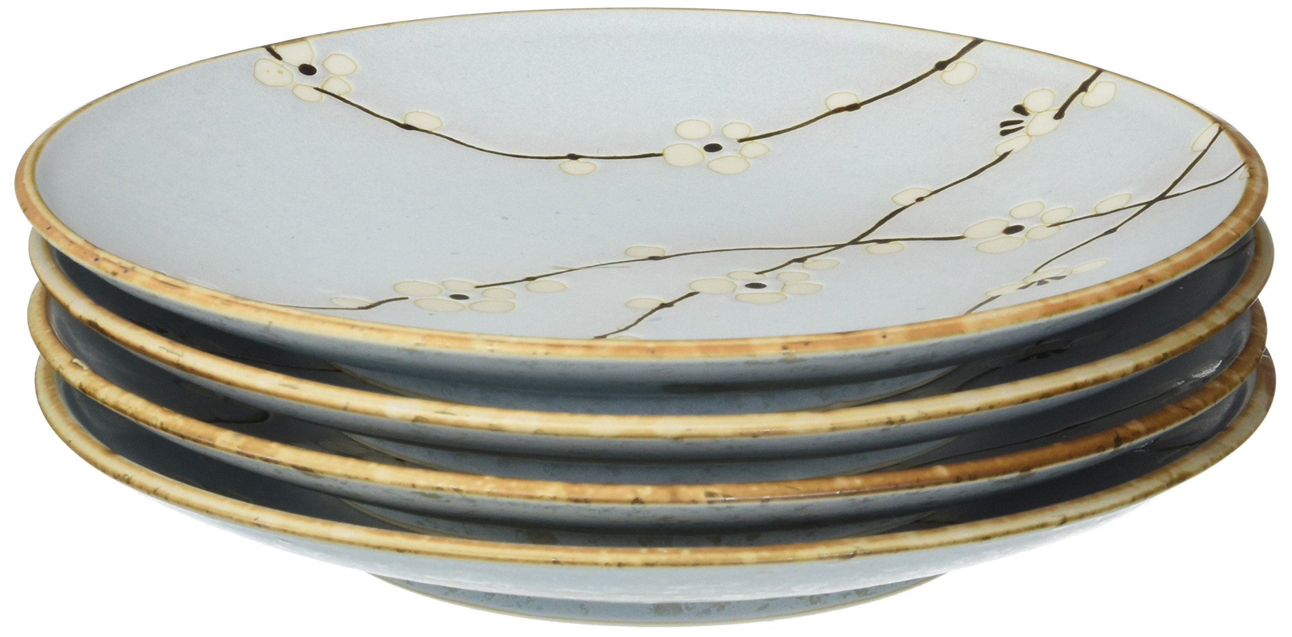 Happy Sales 4 Piece Cherry Blossom Round Dinner Plates Set, Blue