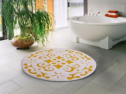 Amazon Com Saffron Fabs Cotton 36 Inch Round Yellow White 200 Gsf