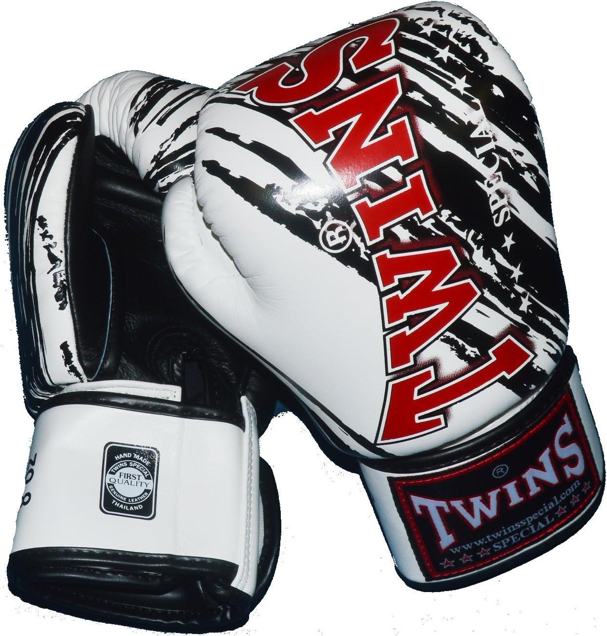 TWINS本革ボクシンググローブ ストライプ3 白  16oz