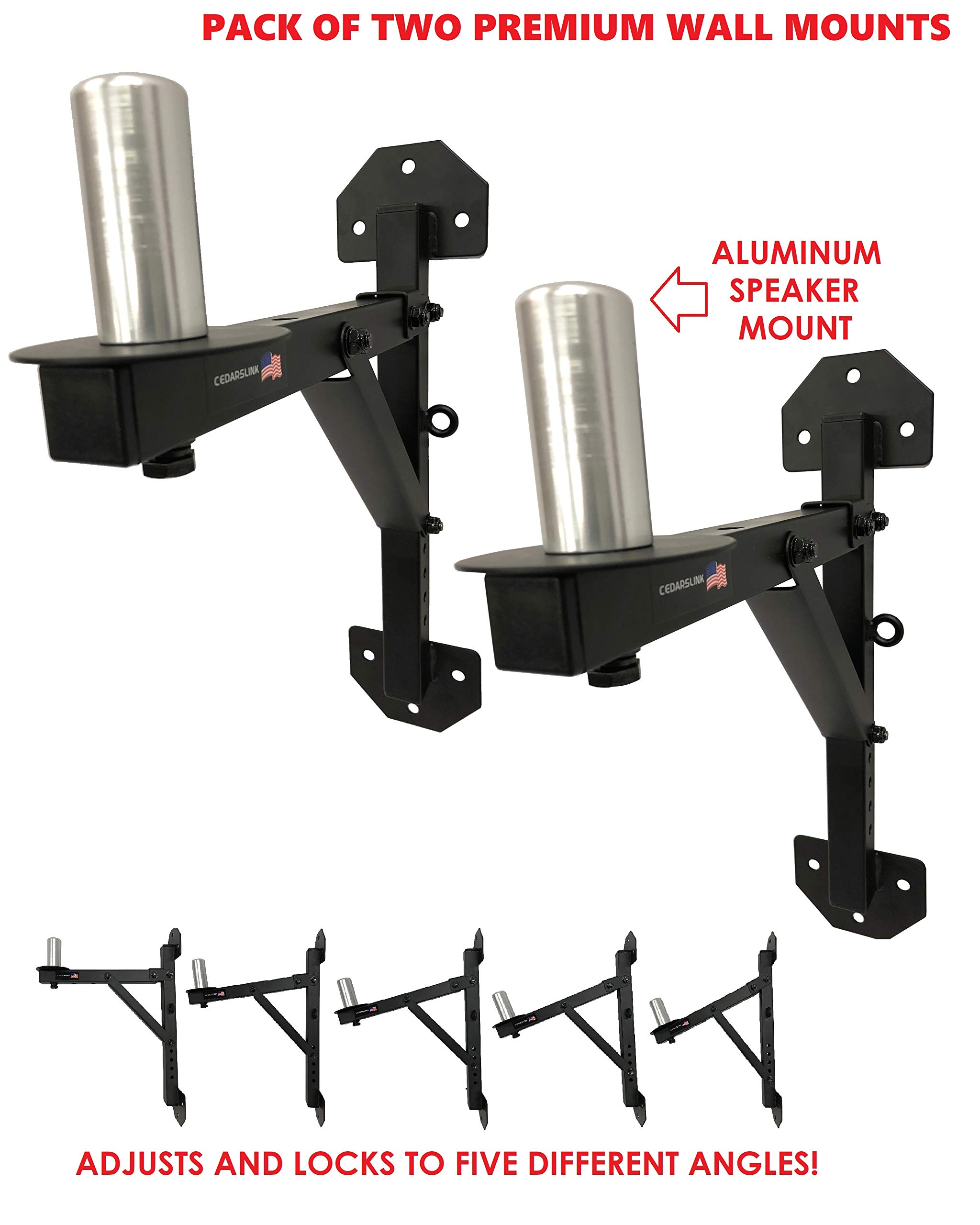 Cedarslink PA Speaker Wall Mount Brackets - 2 Pro-Audio Stands Post Holder DJ Stage. 1-4 Day Shipping! Aluminum Peg Mount! Over 200 LB. Capacity!