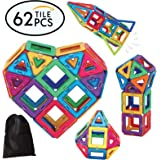 Superior Quality Magnetic Tiles Building Toy Blocks Set for Kids - Educational Toy Kits with Bonus Storage Bag - A Great Stem Toy for Boys and Girls - 62 Pieces