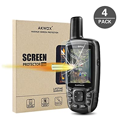 (Pack of 4) Tempered Glass Screen Protector for Garmin GPSMAP 62 64 64s 64st, Akwox 0.3mm 9H Hard Scratch-Resistant Protective Film for GPSMAP 62 62s 62sc 62st 62stc 64 64s 64st GPS