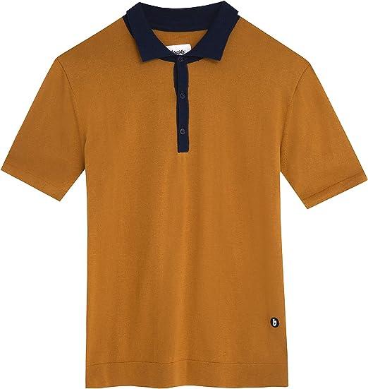 Brava Fabrics - Polo para Hombre - Camiseta Polo - 100% Algodón Orgánico - Modelo Navy Ochre: Amazon.es: Ropa y accesorios