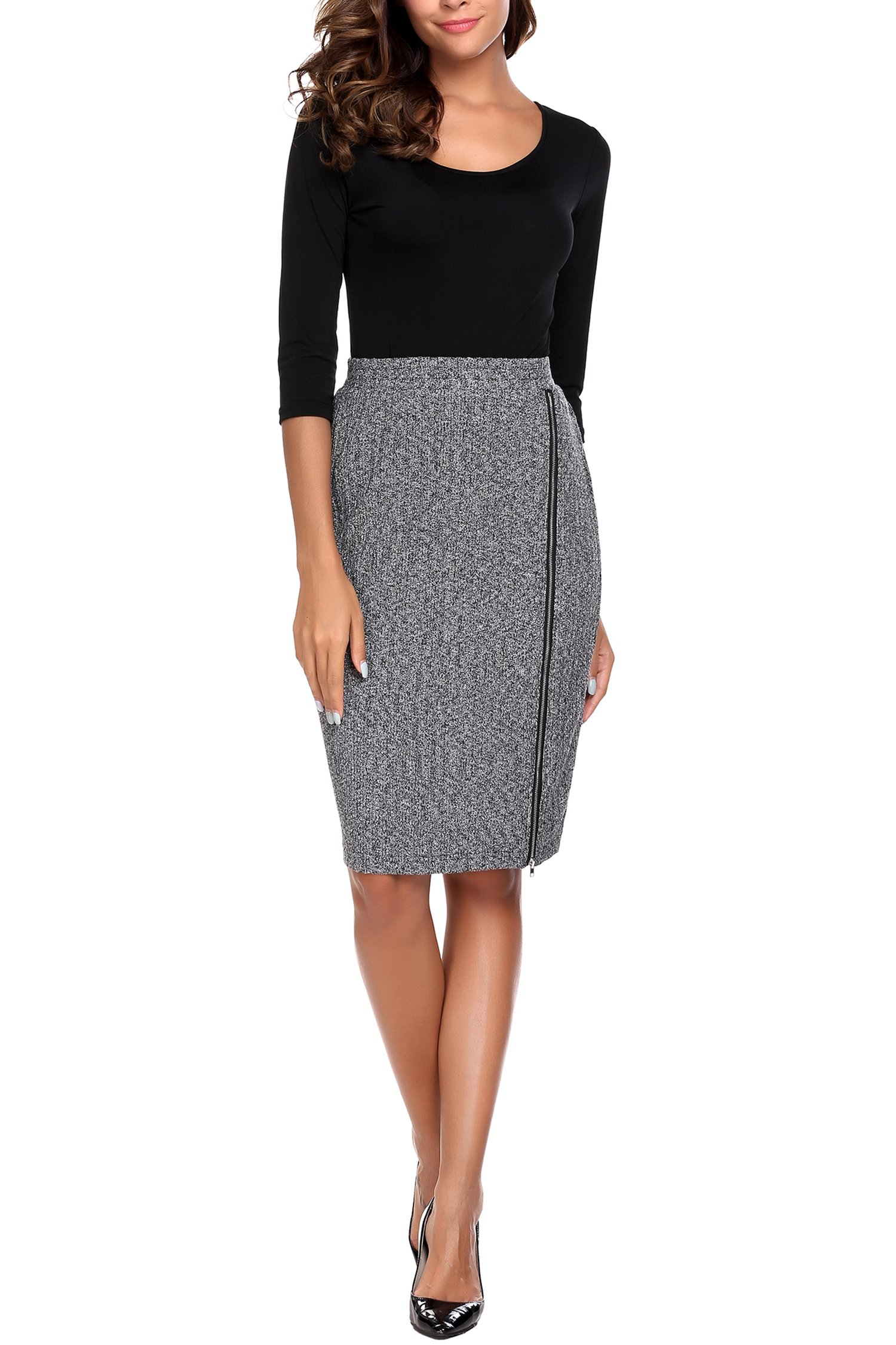Zeagoo Midi Bandage Pencil Skirt Grey Stretchy Bodycon Slit Fitted Knit Formal Skirts for Women