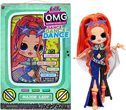 LOL Surprise OMG Dance Dance Dance Major Lady Fashion Doll with 15 Surprises Including Magic Black Light, Shoes, Hair Brush, Doll Stand and TV Package - A Great Gift for Girls Ages 4+