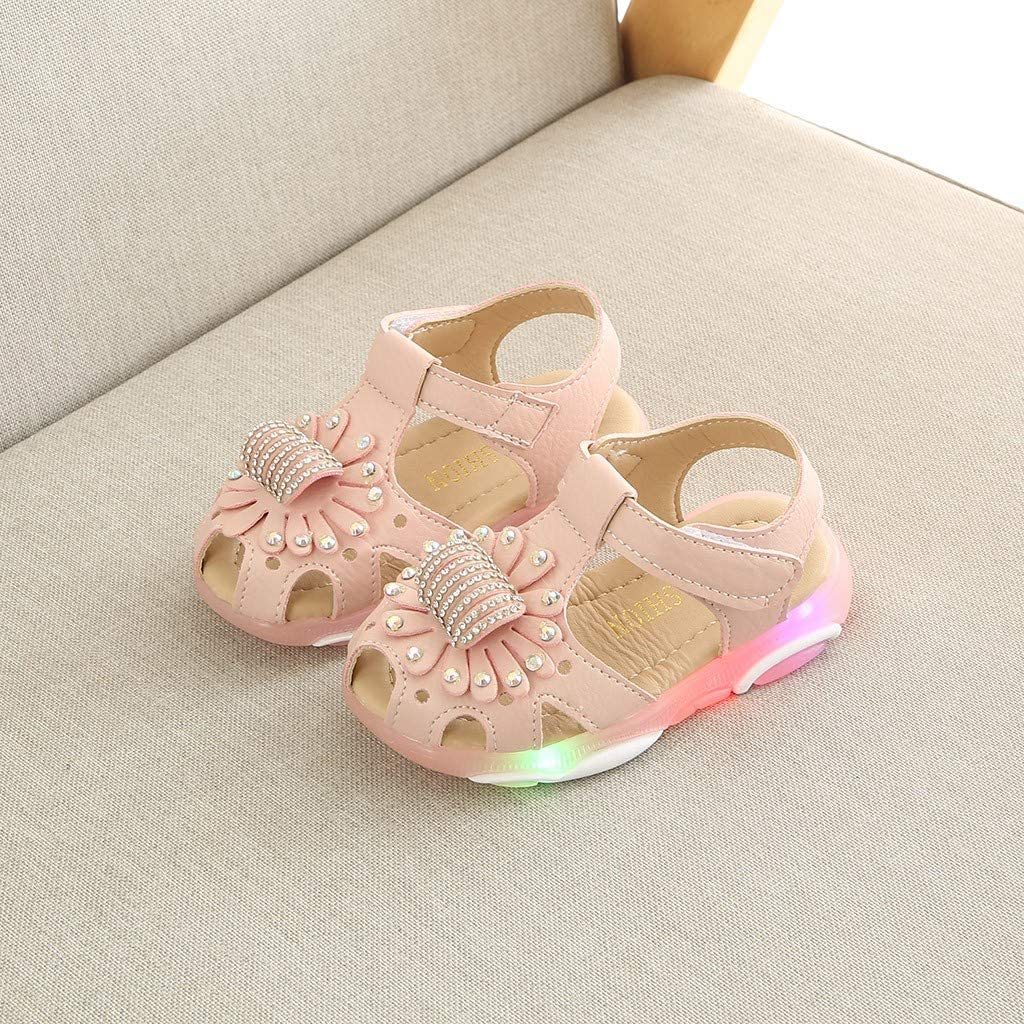 ❤️Rolayllove❤️ Children Baby Girl Crystal Flower Closed Toe Led Light Luminous Sport Sandals Sneaker Shoes