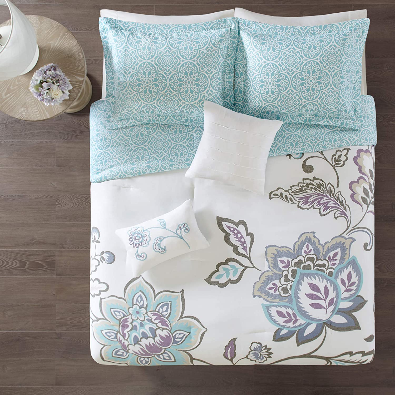 510 DESIGN Elizabeth Comforter Reversible Vibrant Floral Flower Medallion Pleated Embroidered Pillow Ultra Soft Down Alternative Hypoallergenic All Season Bedding-Set, Full/Queen, Aqua