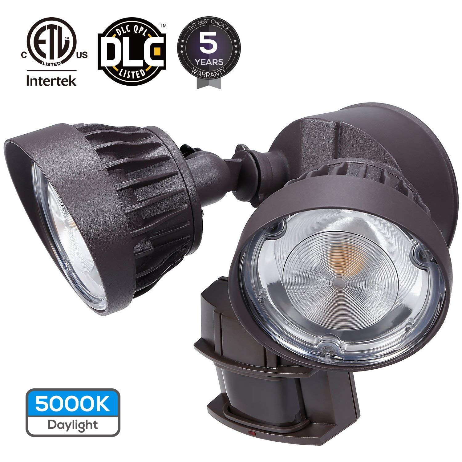 LEONLITE Dual-Head Motion Activated LED Security Light, 3300lm Ultra Bright, 30W (200W Equiv.), ETL & DLC Certified, IP65 Waterproof, 5000K Daylight, 5 Years Warranty -Brown