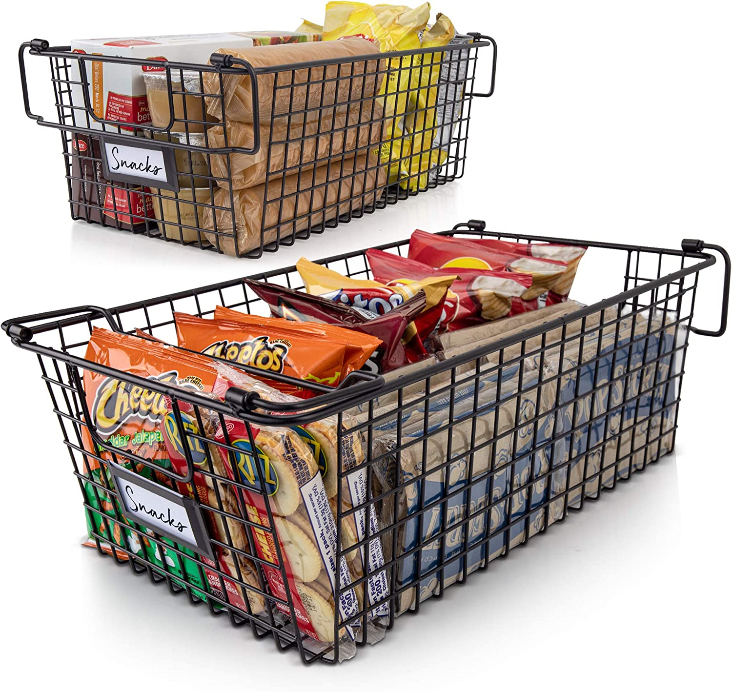 Gorgeous Stackable XL Wire Baskets For Pantry Storage and Organization - Set of 2 Pantry Storage Bins With Handles - Large Metal Food Baskets Keep Your Pantry Organized