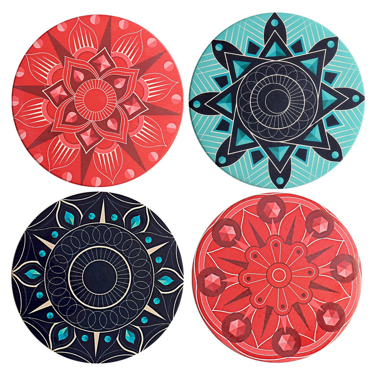 LogHog Absorbent Ceramic Stone Coasters for Drinks, Pack of 4 Stone Coaster Set Cork Coaster for Mugs and Cups(Bohemia)