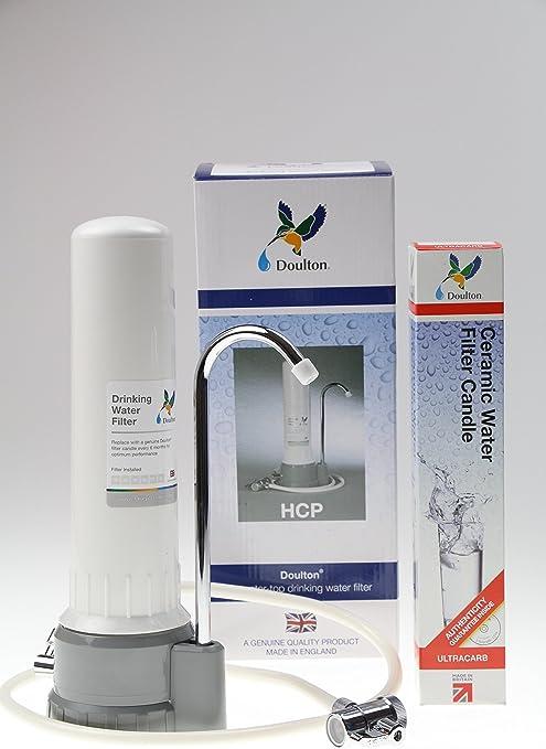 filtert nachweislich auch Schwermetalle Auftisch-Wasserfilter Doulton HCS aus Edelstahl mit Ultracarb Filterpatrone