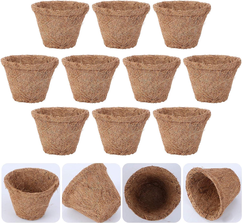 YARNOW 10 Unidades de Maceta de Flor de Coir Org/ánico Recipiente de Bons/ái Tazas de Inicio de Fibra de Coco Maceta de Plantaci/ón de Pl/ántulas Caqui