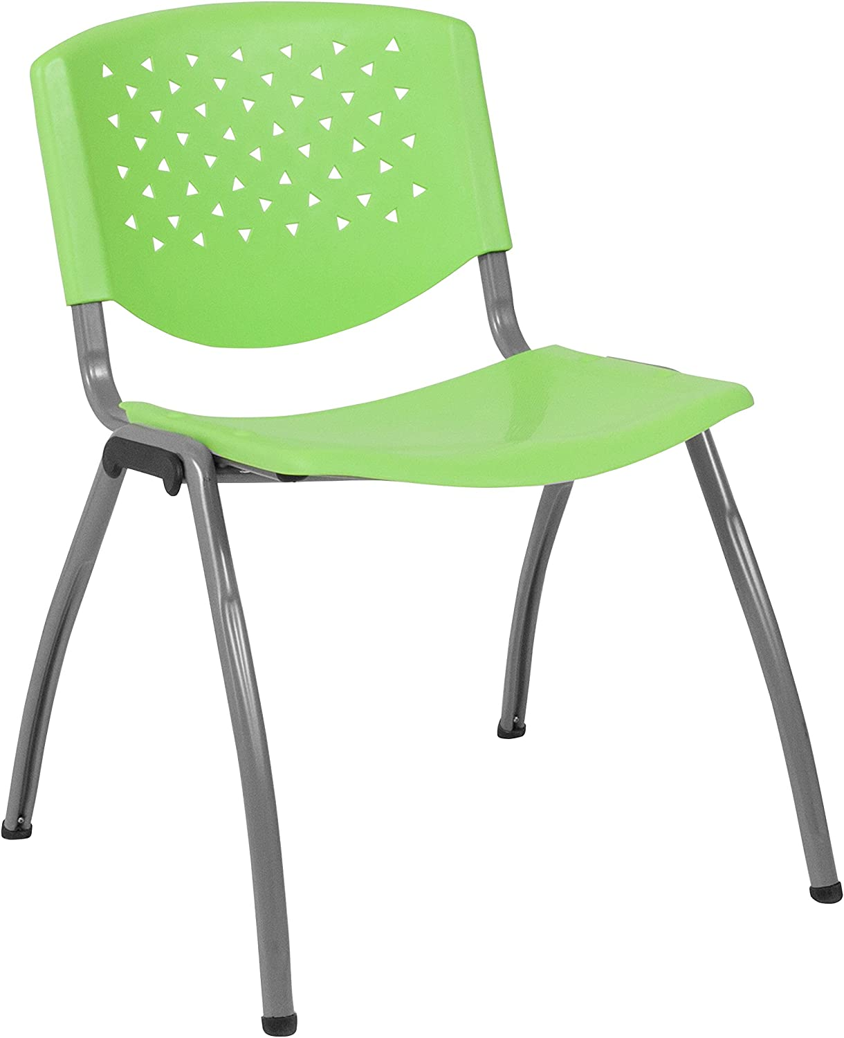 Flash Furniture HERCULES Series 880 lb. Capacity Green Plastic Stack Chair with Titanium Gray Powder Coated Frame
