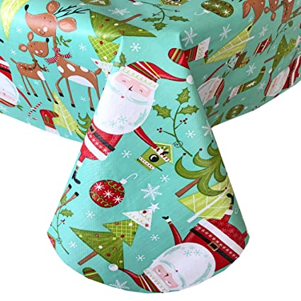 Newbridge Jingle Bells Santa Claus Fun Christmas Print Vinyl Flannel Backed Tablecloth, Whimsical Santa and Reindeer Xmas Tablecloth, (60 Inch x 84 Inch Oval) best Christmas tablecloths