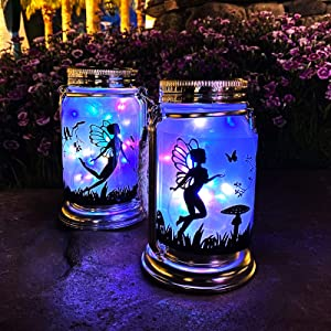 Vcdsoy Solar Garden Decor Fairy Lantern Colorful Light- 2 Pack Outdoor Decorations Fairies Gifts Hanging Lamp Frosted Glass Jar with Stake for Yard Garden Clearance Patio Lawn