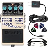 Boss DD-7 Digital Delay Stereo Pedal -INCLUDES- Blucoil Power Supply Slim AC/DC Adapter for 9 Volt DC 670mA, 4 Pack of Guitar Picks AND 2 Hosa 6-inch Molded Right-Angle Patch Cables