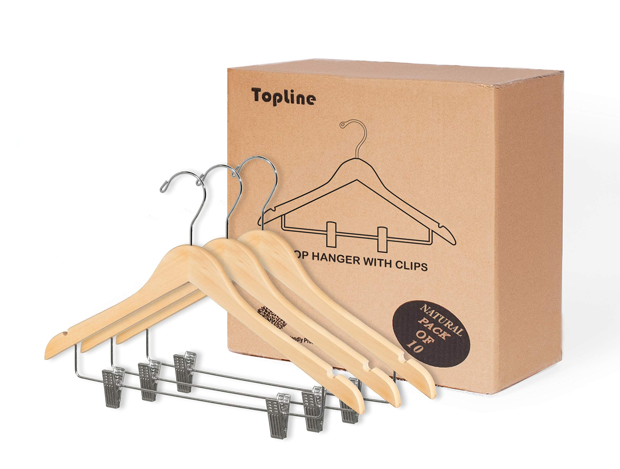 Topline Classic Wood Shirt Hangers with Clips - Natural Finish (10-Pack)