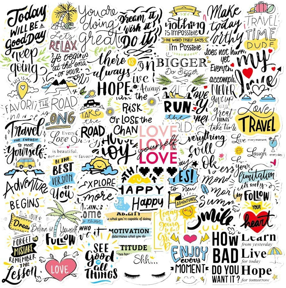 ONDY Inspirational Stickers 50 PCS Cute Waterproof Stickers for Laptop, Water Bottles, Computer, Phone and Decals, Reward Motivational Stickers for Teens, Adults, Students (Inspirational Words)