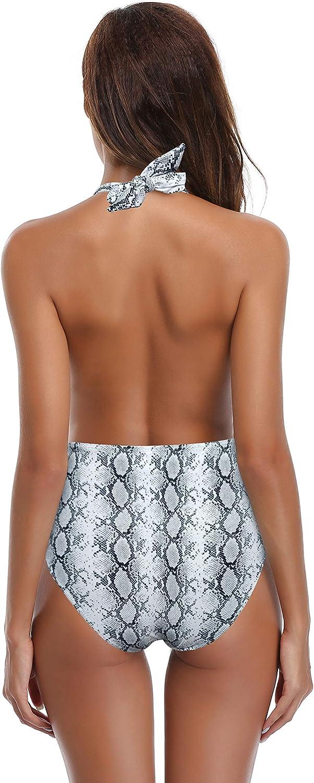SHEKINI Mujer V-Cuello Ba/ñador Almohadillas Trajes de Ba/ña Halter de una Pieza Monokini ba/ñador Rayas Mujer