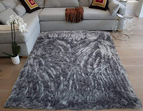 Faux Sheepskin Sheep Hide 6x9 Feet Modern Contemporary Gray Grey Charcoal Colors Furry Fuzzy Area Rug Carpet Rug Solid Plush Pile Soft Decorative Designer Bedroom Living Room Polyester Made