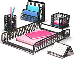 Hudstill Black Cute Desk Organizer Set for Women and Girls in Art Deco Design with 5 Office Supplies Accessories : File Tray, Mail Sorter, Pen Cup, Holders for Sticky Notes, Business Cards or Phones