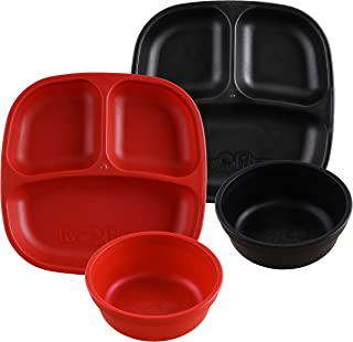 product image for Re-Play Made in USA 4pk Starter Dining Set of 2 Divided Plates with 2 Matching Bowls in Red and Black. Made from Eco Friendly Heavyweight Recycled Milk Jugs - Virtually Indestructible!