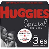 Hypoallergenic Baby Diapers Size 3, 66 Ct, Huggies Special Delivery, Softest Diaper, Safe for Sensitive Skin